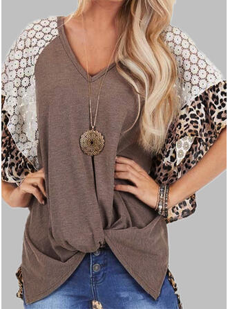 Patchwork Lace Leopard V-Neck Batwing Sleeve 1/2 Sleeves Casual T-shirts