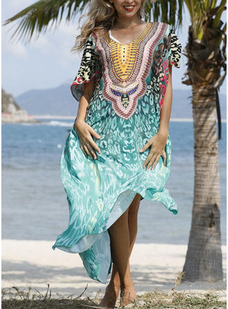 Floral Print V-Neck Vintage Boho Cover-ups Swimsuits