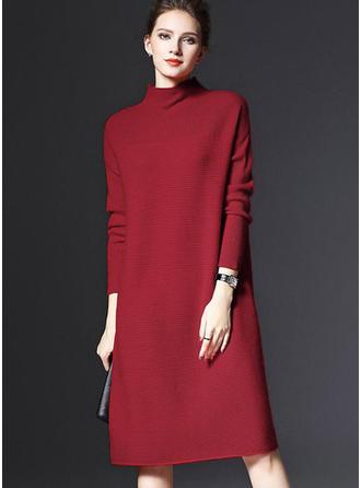 Polyester Turtleneck Plain Sweater Dress