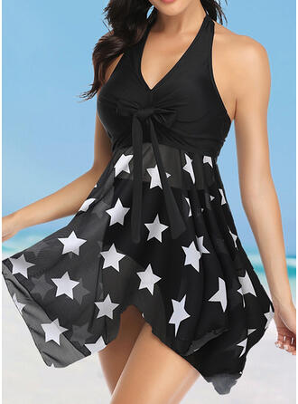 Dot Star Print Halter V-Neck Elegant Classic Swimdresses Swimsuits