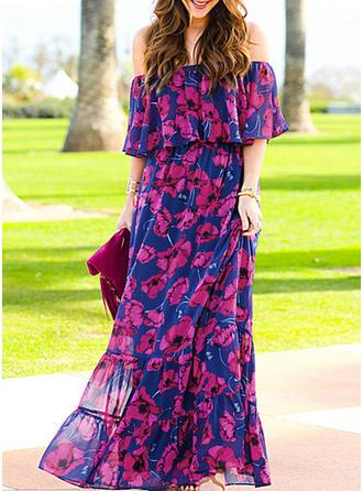 Krótkie rękawy Maxi Sukienki