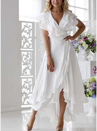 Solid Short Sleeves A-line Wrap/Skater Elegant Midi Dresses
