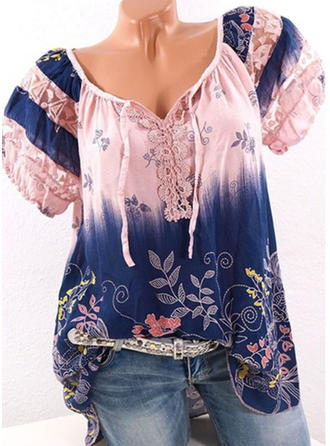 Cotton V Neck Floral Short Sleeves Casual Blouses
