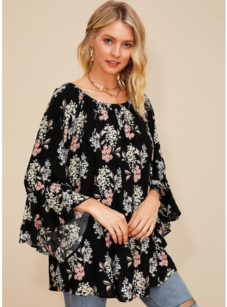 Print Round Neck Flare Sleeve Long Sleeves Casual Blouses