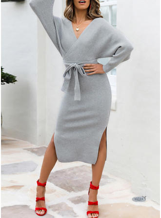Solid Long Sleeves Sheath Midi Casual/Elegant Dresses