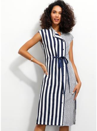 Striped Sleeveless Sheath Knee Length Casual/Elegant Dresses