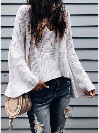 Polyester V-neck Cable-knit Sweater