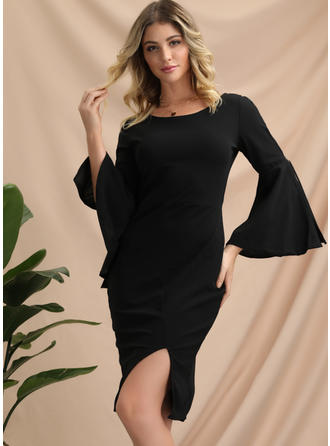 Solid 1/2 Sleeves/Flare Sleeves Sheath Knee Length Little Black/Party Dresses