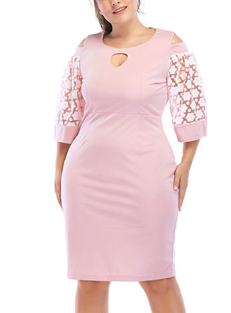 Lace/Patchwork 3/4 Sleeves Sheath Knee Length Plus Size Dresses