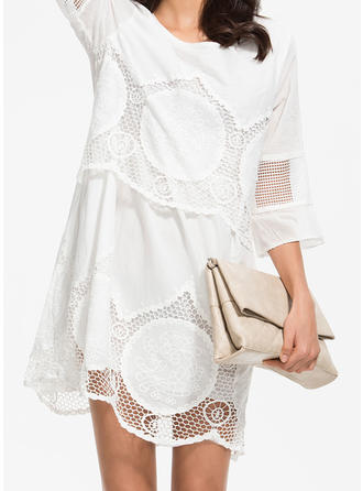 e696a91be33 quick view Lace Solid 3 4 Sleeves Shift Above Knee Casual Dresses