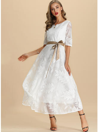 Lace/Solid 1/2 Sleeves A-line Maxi Casual/Elegant Dresses