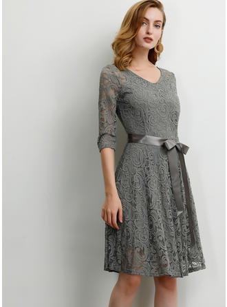 Lace/Solid 1/2 Sleeves A-line Knee Length Party/Elegant Dresses