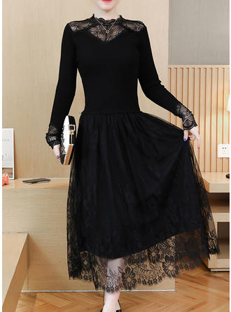 Lace/Solid Long Sleeves A-line Midi Little Black/Casual Dresses