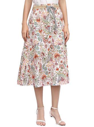 Algodón Lino Impresión Floral Midi Faldas A-Line