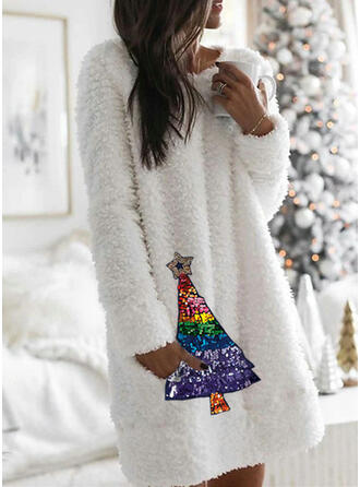 Sequins Long Sleeves Shift Knee Length Christmas/Casual Tunic Dresses