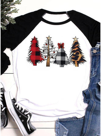 Print Round Neck 3/4 Sleeves Casual Christmas Knit T-shirts