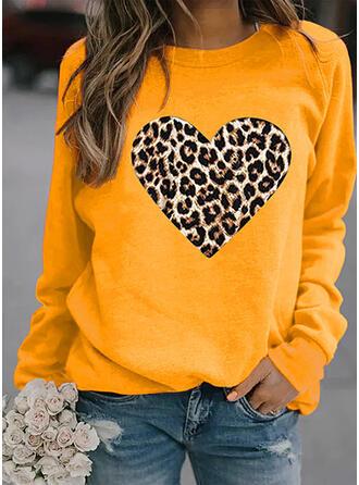 Leopard Rundhals Lange Ärmel Pullover