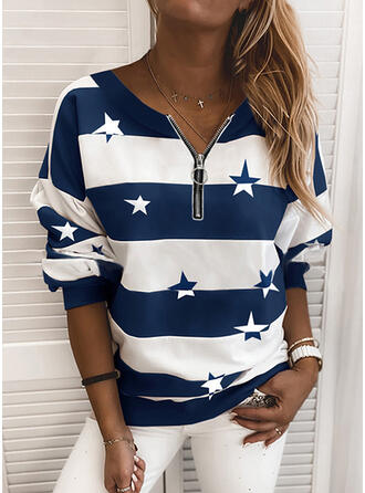 Print Striped Round Neck Long Sleeves Sweatshirt
