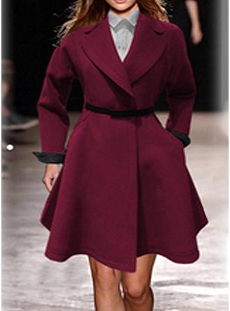 Wełniany Długie rękawy Jednolity kolor Slim Fit Płaszcze