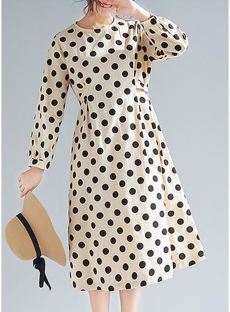 PolkaDot Long Sleeves Shift Midi Casual Dresses