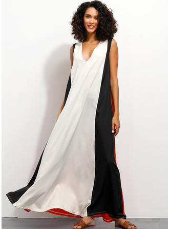 Color-block/Patchwork Sleeveless Shift Maxi Casual Dresses