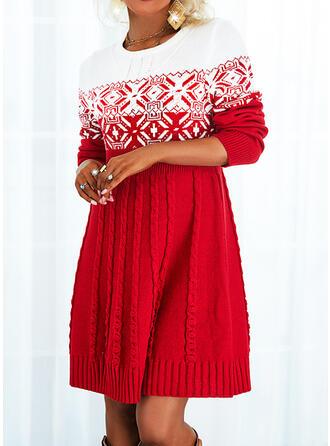 Jul Print Color Block Rund-ringning Tröja klänning