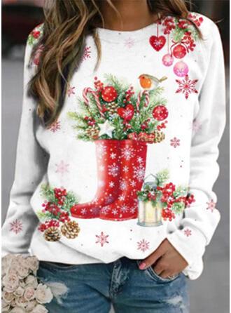 Print Hjerte rund hals Lange ærmer Jule sweatshirt