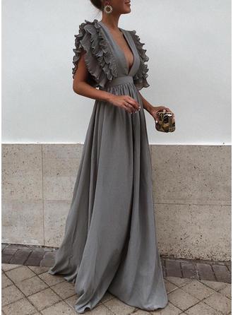 Solid Ruffles V-neck Maxi A-line Dress