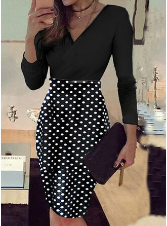 PolkaDot Long Sleeves Bodycon Knee Length Casual/Elegant Dresses