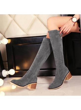 Femmes Suède Talon bottier Bottes hautes avec Zip chaussures
