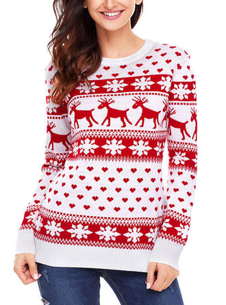 Kvinnor polyester Print Ren Ugly Christmas Sweater
