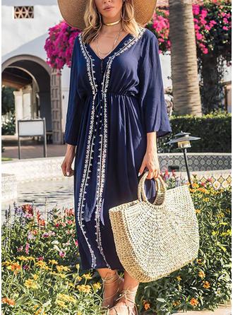 Embroidery V-neck Midi A-line Dress