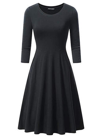Solid Long Sleeves A-line Knee Length Vintage/Little Black Dresses