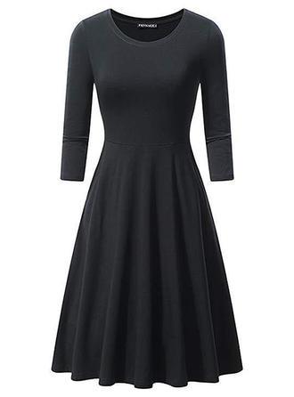 Long Sleeves A-line Knee Length Vintage/Little Black Dresses