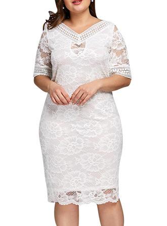 Lace V-neck Knee Length Sheath Dress