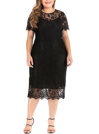 Lace/Solid Short Sleeves Sheath Plus Size Midi Dresses