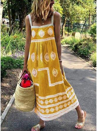 Print Sleeveless Shift Casual/Boho/Vacation Midi Dresses