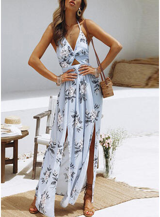 Print/Floral Sleeveless A-line Sexy/Casual/Vacation Maxi Dresses