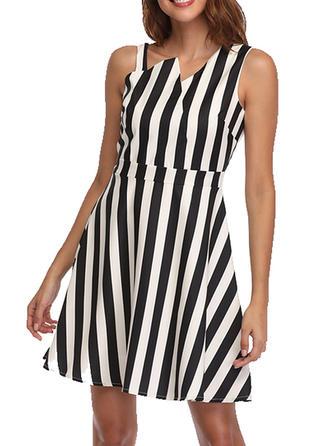 Striped Sleeveless A-line Mini/Above Knee Casual Dresses