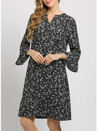 Print/Floral 3/4 Sleeves/Flare Sleeves Shift Knee Length Casual/Elegant Dresses