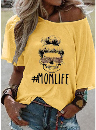 Print One-Shoulder 3/4 Sleeves Casual T-shirts