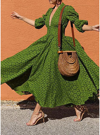 Lace/Solid 3/4 Sleeves/Puff Sleeves A-line Maxi Casual/Vacation Dresses