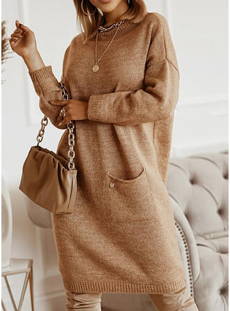 Solid Long Sleeves Dropped Shoulder Shift Knee Length Casual Sweater Dresses