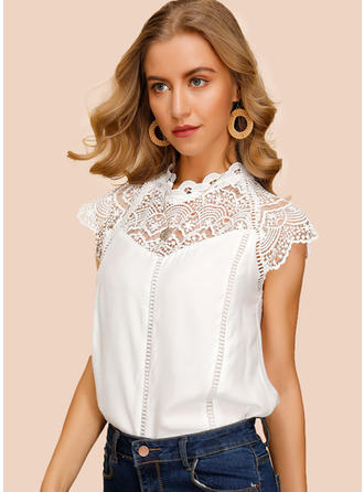 Solid Lace Round Neck Cap Sleeve Casual Elegant Blouses