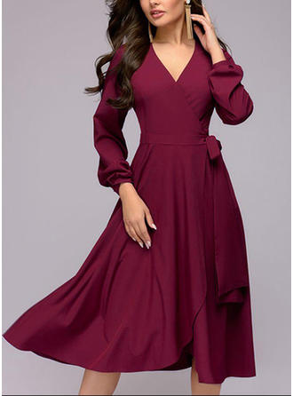 Solid Long Sleeves A-line Midi Vintage/Elegant Dresses