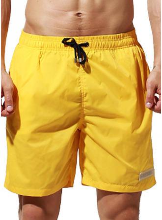Men's Solid Color Drawstring Board Shorts
