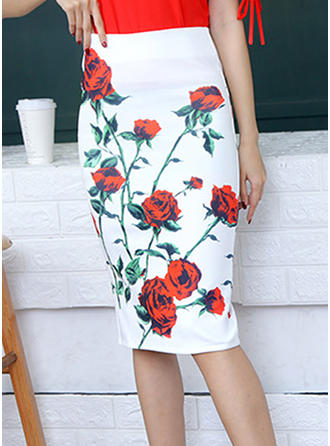 Polyester Print Above Knee Pencil Skirts