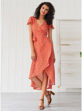 PolkaDot Short Sleeves A-line Asymmetrical Casual Dresses