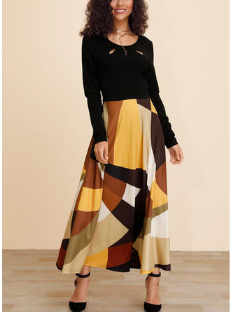Color Block/Patchwork Long Sleeves A-line Maxi Casual Dresses