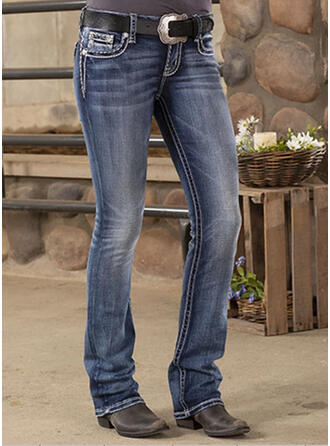 Shirred Plus Size Long Casual Tribal Denim & Jeans